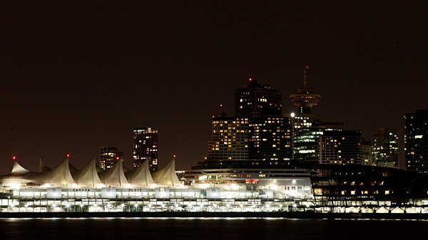 Downtown Vancouver, B.C., is pictured with many lights turned off during Earth Hour on Saturday March 27, 2010. (Darryl Dyck / THE CANADIAN PRESS)