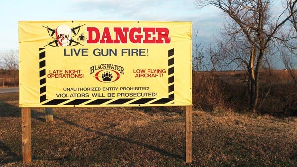 A sign at the entrance to Blackwater USA, in Moyock N.C., is shown in this Jan. 23, 2007, file photo.  (AP / The Daily Advance, Joon Powell)