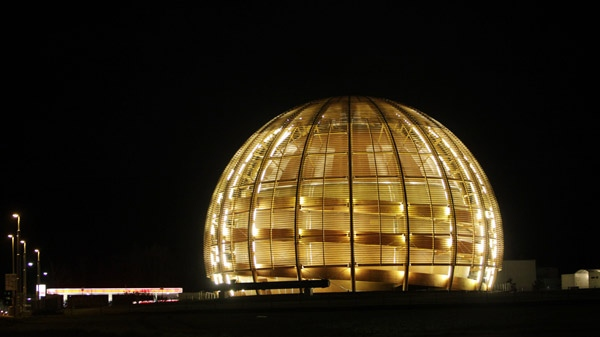 The globe of the European Organization for Nuclear Research, CERN, is illuminated outside Geneva, Switzerland, early morning Tuesday, March 30, 2010. (AP / Anja Niedringhaus)
