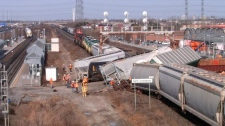The derailment on CN's rail line near the Pickering GO station on Tuesday, March 30, 2010 left a jumbled mess of cars. (Rob McDonell / MyNews.CTV.ca)