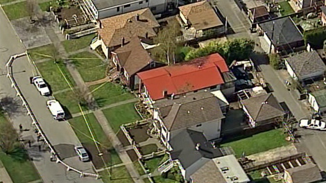 Vancouver police cordoned off three homes in the 2500-blk of Charles Street in East Vancouver after homicide investigators suspect foul play in the disappearance of a newborn baby two days ago. March 31, 2010. (CTV/Chopper 9)