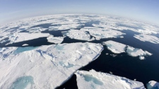 Ice patterns are seen in Baffin Bay above the arctic circle from the Canadian Coast Guard icebreaker Louis S. St-Laurent Thursday, July 10, 2008. (THE CANADIAN PRESS/Jonathan Hayward)