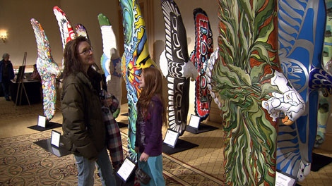 "The ""Eagles in the City"" sculptures were on display to the public ahead of their auction. April 5, 2010. (CTV)"