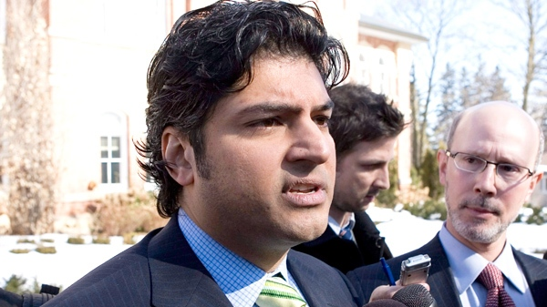 Rahim Jaffer leaves the courthouse in Orangeville, Ontario on Tuesday, March 9, 2010. (Chris Young / THE CANADIAN PRESS)