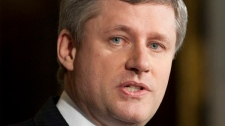 Prime Minister Stephen Harper announces MP Helena Guergis had resigned from cabinet in Ottawa, Friday April 9, 2010. (Adrian Wyld / THE CANADIAN PRESS)