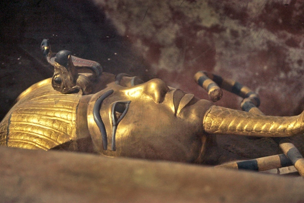 The sarcophagus of King Tut is seen in his underground tomb in the Valley of the Kings. (AP / Ben Curtis)