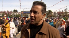Kash Heed appeared at the Vaisakhi celebration in south Vancouver on Saturday, the day after announcing his resignation as B.C.'s solicitor general. April 10, 2010. (CTV)