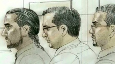 A court sketch of the three 'Toronto 18' defendants.