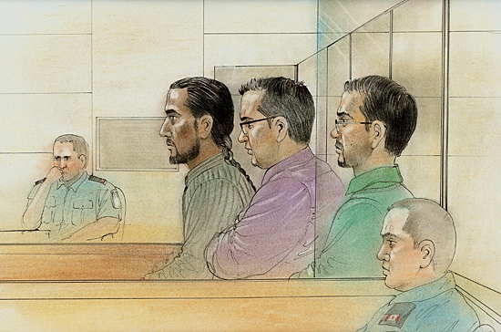 From the left: Steven Chand, 29, Asad Ansari, 24 and Fahim Ahmad, 25 in a Monday, April 12, 2010 courtroom sketch.