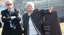 Rolly and Betty Fox at the permanent marker of where Terry began his Marathon of Hope 30 years ago, in St. John's, N.L. on Monday, April 12, 2010. (Paul Daly / THE CANADIAN PRESS)