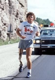 This is a undated photo of Terry Fox during his run across Canada to raise money for cancer research. He did not finish the run and died in a Vancouver hospital in 1981. (THE CANADIAN PRESS)