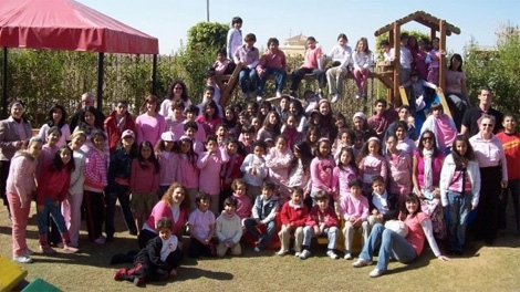 Supporters and volunteers donned pink shirts to show solidarity against bullying on April 14, 2010. (Boys and Girls Club)
