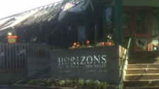 Horizons Restaurant on Burnaby Mountain caught fire on Thursday morning. The cause has not been determined. April 15, 2010. (CTV)