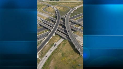An aerial view of the intersections of Highways 404 and 407 in Markham. (Tom Podolec/CTV Toronto)