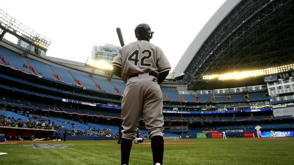 Chicago White Sox's Juan Pierre wears number 42 in the on-deck circle to celebrate Major League Baseball's Jackie Robinson Day during AL baseball action against the Toronto Blue Jays in Toronto on Thursday, April 15, 2010. (Darren Calabrese / THE CANADIAN PRESS)