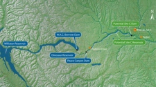 A map of northern B.C. indicating proposed Site C dam locations. (BC Hydro)
