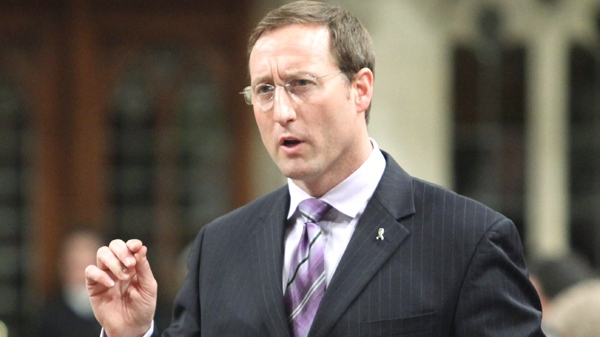Defence Minister Peter MacKay stands in the House of Commons during Question Period, on Parliament Hill, in Ottawa Monday April 19, 2010. (Fred Chartrand / THE CANADIAN PRESS)
