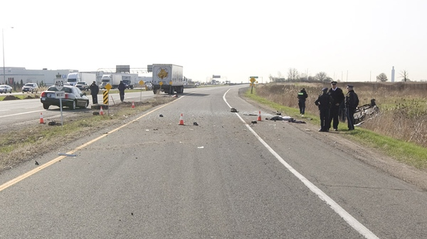 The accident scene on Highway 403 stretched for one kilometre, according to the OPP.