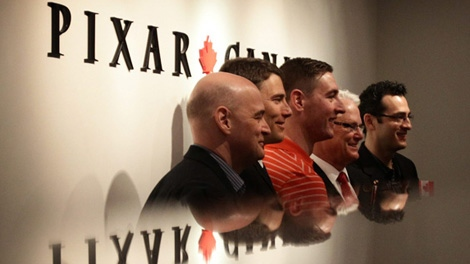Pixar Canada chief technical officer Darwyn Peachey, left to right, Vancouver Mayor Gregor Robertson, Pixar Canada creative director Dylan Brown, British Columbia Premier Gordon Campbell and Pixar Canada general manager Amir Nasrabadi pose for a photograph during the opening of the company's studio in Vancouver, B.C., on Tuesday April 20, 2010. (CP/Darryl Dyck)