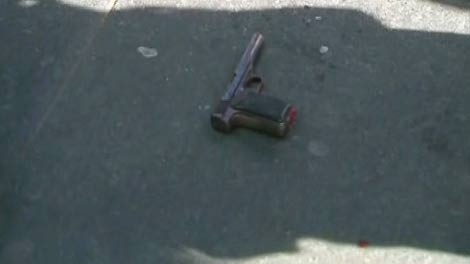The sight of someone brandishing this possible firearm sent some at a pro-marijuana rally at Yonge-Dundas Square into a panic on Tuesday, April 20, 2010.