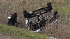The driver of this vehicle was airlifted to hospital with critical injuries after his car rolled over on Highway 403 on April 20, 2010.