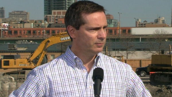 Ontario Premier Dalton McGuinty speaks to reporters from a construction site in Toronto, Tuesday, April 20, 2010.