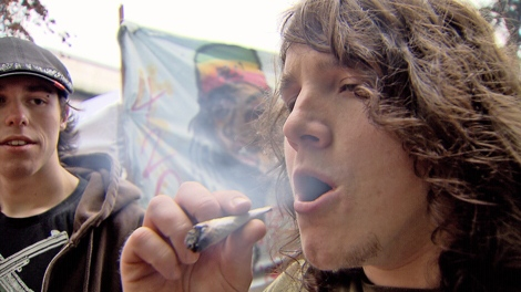 An unidentified man exhales at the 420 pot celebration at the Vancouver Art Gallery on April 20, 2010(CTV)