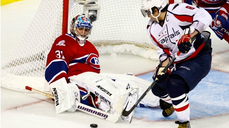 Washington Capitals' Alex Ovechkin takes the rebound off Montreal Canadiens  goaltender Carey Price during the third period (April 19, 2010)