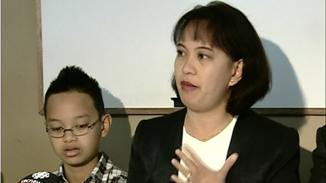 Maria Gallardo and her then seven-year-old son Luc, seen here in a file photo