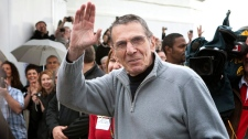 Leonard Nimoy, who played Spock in the original Star Trek series, waves to his fans after arriving at a ceremony naming Vulcan, Alta., the 'Official Star Trek Capital of Canada' in Vulcan, Friday, April 23, 2010. (Jeff McIntosh / THE CANADIAN PRESS)