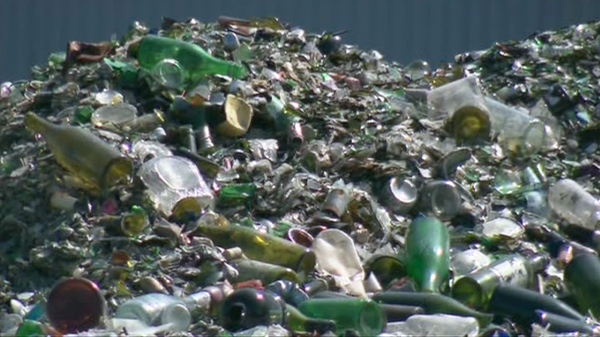 A pile of bottles and broken glass awaits recycling. (file)