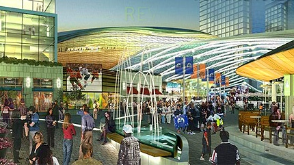 An artists' depiction of a pedway that would be part of the Katz Group's proposed downtown Edmonton arena entertainment district.