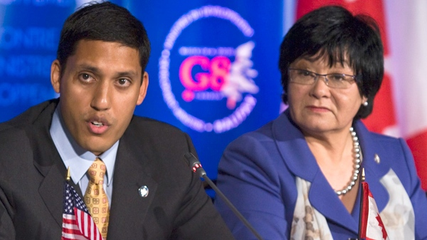 Rajiv Shah, administrator of the United States Agency for International Development, left, and Canada's International Co-operation Minister Bev Oda field questions at a news conference after a meeting of G8 development ministers at historic Pier 21 in Halifax on Wednesday, April 28, 2010. (Andrew Vaughan / THE CANADIAN PRESS)