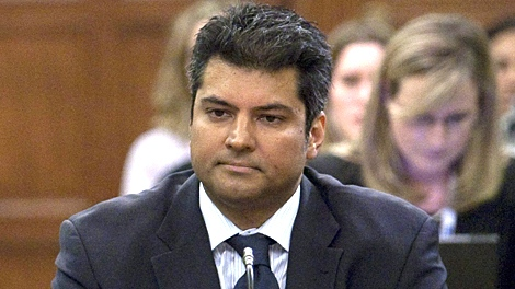 Former MP Rahim Jaffer appears before a Government Operations Committee on Parliament Hill in Ottawa on Wednesday, April 21, 2010. (Pawel Dwulit / THE CANADIAN PRESS)