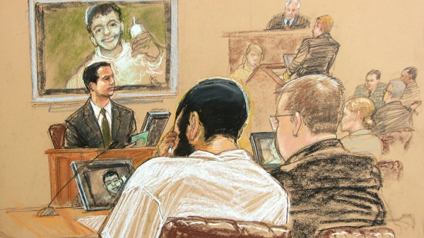 In this photo of a sketch by courtroom artist Janet Hamlin, reviewed by a U.S. Department of Defense official, Canadian defendant Omar Khadr, front left, sits with his defense team as FBI Special Agent Robert Fuller, top left, testifies during Khadr's pre-trial hearing in the courthouse for the U.S. Military War Crimes Commission at the Camp Justice compound on Guantanamo Bay U.S. Naval Base in Cuba, Thursday, April 29, 2010. (AP / Janet Hamlin)