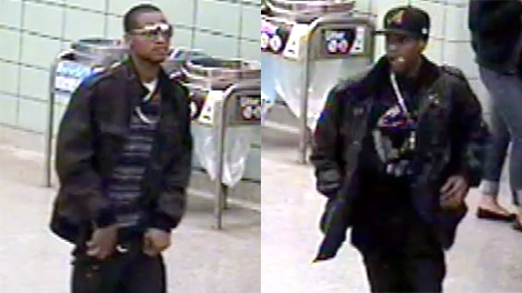 This combined image taken from video released by the Toronto Police Service shows two suspects in the subway robbery on Saturday, April 24, 2010.