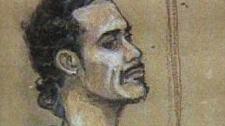 Michael Erin Briscoe is shown in a court sketch.