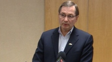 Premier Ed Stelmach is seen here speaking at the Mayfield Inn and Conference Centre on Friday evening.