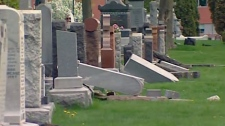 Police are investigating after several gravestones were knocked over at the Notre Dame Cemetery in Ottawa's east end.