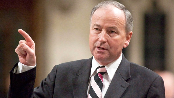 Justice Minister Rob Nicholson gestures as he rises during Question Period in the House of Commons on Parliament Hill in Ottawa on Friday, April 23, 2010. (Pawel Dwulit / THE CANADIAN PRESS)