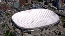 The BC Place roof is completely deflated on May 4, 2010. (CTV)
