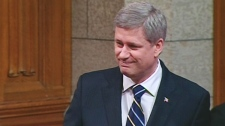 Prime Minister Stephen Harper discusses the Canadian navy's anniversary in Ottawa, Tuesday, May 4, 2010.