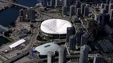 The dome roof at BC Place begins to deflate on May 4, 2010. (CTV)