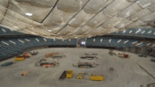 The deflation of the BC Place roof is seen from inside the stadium. May 4, 2010. (BC Place)