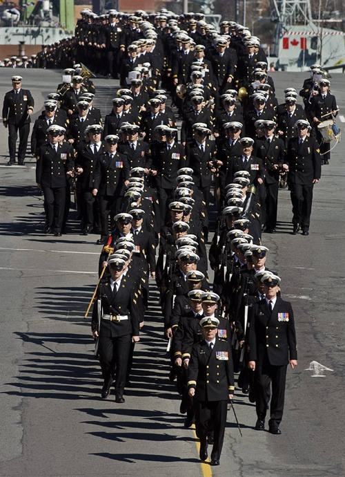 Sailors march to city hall in Halifax on Tuesday, May 4, 2010 as the navy marks its centenary. (THE CANADIAN PRESS/Andrew Vaughan)