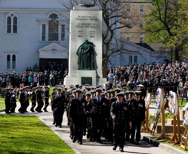 Sailors march to city hall in Halifax on Tuesday, May 4, 2010 as the Canadian Navy marks its centenary. (Andrew Vaughan / THE CANADIAN PRESS)