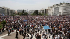 Thousands of protesters gather outside the Greek Parliament in Athens, Wednesday, May 5, 2010. (AP / Thanassis Stavrakis)