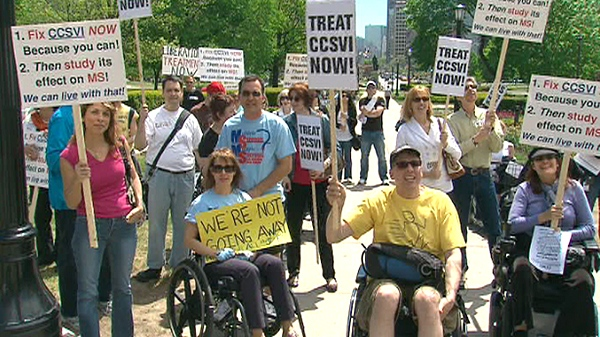 MS patients rally for CCSVI, or chronic cerebrospinal venous insufficiency, in Toronto, Wednesday, May 05, 2010.