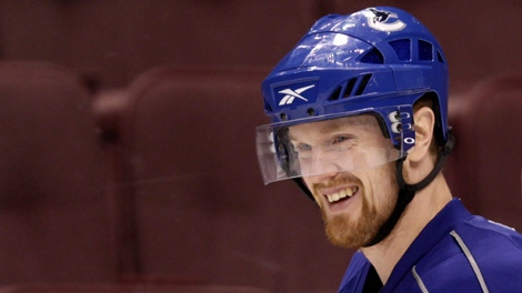 Vancouver Canucks' Henrik Sedin, of Sweden, smiles during team practice in Vancouver, B.C., on Wednesday April 14, 2010. Washington Capitals sniper Alex Ovechkin, Vancouver Canucks playmaker Henrik Sedin and Pittsburgh Penguins superstar Sidney Crosby will battle it out for the Hart Trophy after finishing in the top three in scoring this past season. THE CANADIAN PRESS/Darryl Dyck