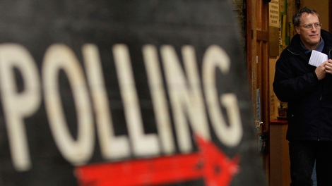 A member of the public is seen after voting in Britain's general election at Bents Green Methodist Church in Sheffield, England Thursday May 6, 2010. (AP / Jon Super)